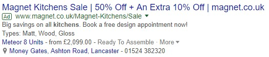 location extensions advert example
